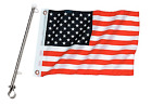 12 x 18 Boat US American Flag USA & Stainless Steel Rail Mount Flag Staff Pole