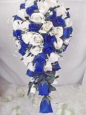 ROYAL BLUE & IVORY ROSE TEARDROP WEDDING BOUQUET.