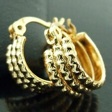 Gold Dangly Girls Classic Antique Design Hoop Earrings Real 18k Yellow G/F