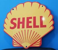 "VINTAGE SHELL GASOLINE PORCELAIN GAS OIL SERVICE STATION 14"" PUMP PLATE SIGN"