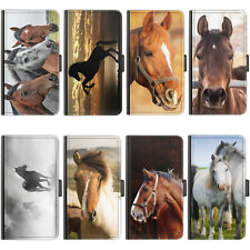 Horse Pony PU Leather Case Side Flip Wallet Cover For Samsung Phone