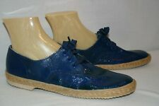 8.5 M Blue Crinkle Patent Vtg 60s 70s Keds Grasshoppers NOS Shoe Jute Wrapped
