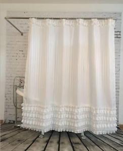 Shower Curtain White Ruffled Princess Dress Waterproof Fabric 72 Inch 12 Hooks