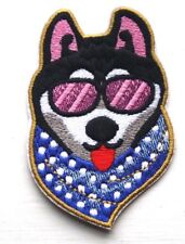 Husky Dog Patch cool Embroidered Iron Sew On Applique  Badge Motif