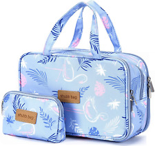 Travel Makeup Bag Toiletry Bags Large Cosmetic Cases for Women Girls Blue/makeup