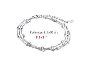 "10"" Women Girl Silver Stainless Steel Bead Rows Chain Foot Anklet Bracelet PE13"