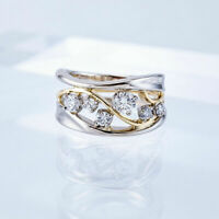 Fashion Two Tone 925 Silver Rings Women Jewelry White HOT SALE Ring Size 6-10