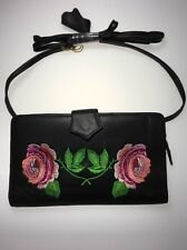 Leather Wallet Clutch Purse Black With Embroidered Roses Flowers Long Strap