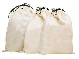 Set of 3 Cotton Breathable Dust-proof Drawstring Storage Pouch Bag, X-Large