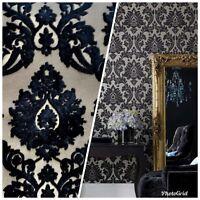 NEW Designer Burnout Damask Chenille Velvet Fabric - Black & Flax- Upholstery