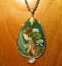 MERMAID Girl & Water Lilies Pendant SHENSHIN signed Stone on gold colour chain