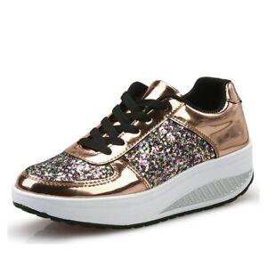 Zapatos de Mujer Calzados Zapatillas Brillante Tenis Womens Bling Platform Shoes