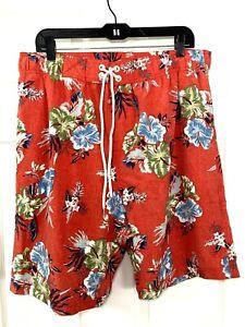 COOLIBAR Mens Size XL Hawaiian Floral Lined Swim Trunks Board Shorts UPF 50+ New