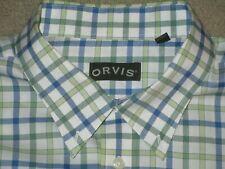 ORVIS MEN'S WRINKLE FREE L/S BUTTON SHIRT XXL 2XL WHITE BLUE GREEN 100% COTTON