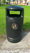 BLACK Hefton Trojan Large Capacity Plastic Outdoor Litter Bin - Brand New **