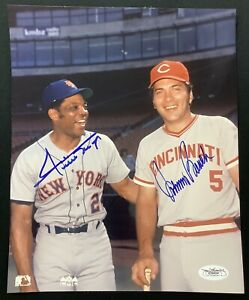 Willie Mays Signed Photo 8x10 Baseball Johnny Bench Autograph Reds Mets HOF JSA