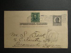 US postcard 1908 stationery uprated stamp Brooklyn NY Benjamin Sigall to SURINAM