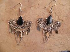 Tribal dangle Earrings Onyx & Alpaca Silver