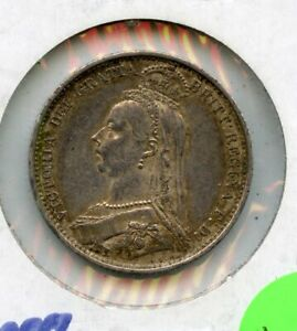 1887 Great Britain 6 Pence .9250 Silver Coin - RC855