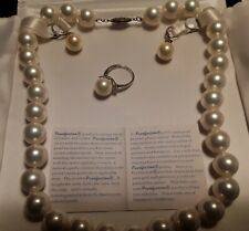 pearl set necklace, Earrings, and Ring.  Pearlfection certification.