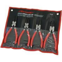 """4 Piece Circlip / Snap Ring 7"""" Pliers Tool Set - internal and external"""