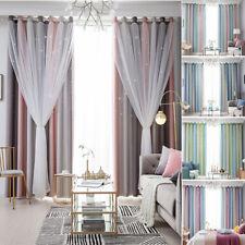 2-layer Gradient Mesh Blackout Floor Curtain Starry Curtains Girls Kids Bedroom