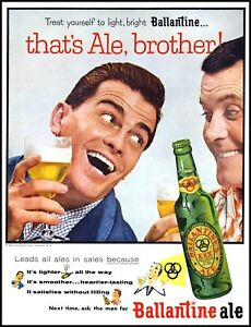 1955 Ballantine Ale brewery two men brothers vintage photo Print Ad  adL24