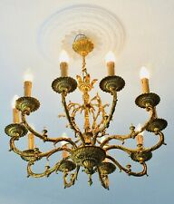 "28"" ✨Authentic✨ 10-Light Antique SOLID BRONZE Chandelier Spanish French"
