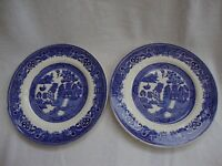 TWO ALFRED MEAKIN POTTERY ENGLAND OLD WILLOW PATTERN PLATES SIDE PLATE