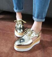 women creeper Platfrom sandals lace up slingback oxford wedge heel platform shoe