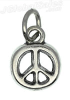 Genuine 925 Sterling Silver Small Peace Sign Symbol Charm Pendant