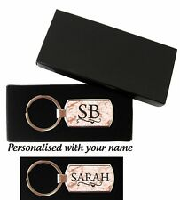 Rectangle Personalised Rose gold marble effect Keyring Name or Initals