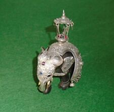 ANTIQUE SILVER ELEPHANT INDIAN CAPARISON WEDDING ELEPHANT & JEWELS HOWDAH c1880