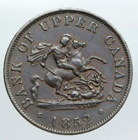 1852 UPPER CANADA Antique UK Queen Victoria HALF PENNY BANK TOKEN Coin i90535