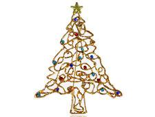 Gold Holiday Christmas Tree Multi Color Stylish Rhinestone Brooch Pin Jewelry