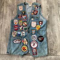RARE Vintage Male Dude Denim 1980's Jean Vest w/ Patches & Pins Mens Small