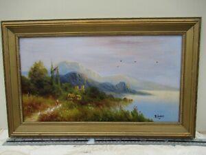 Antique Original Oil Painting Gilt Framed Signed R Hughes Victorian Scene