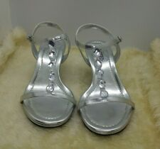 Unlisted Kenneth Cole Silver Kitten Heel Sandals Size 7.5M Embellished Kind Care