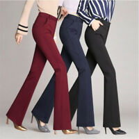 4XL Women High Waist Flare Pants Palazzo OL Career Wide Leg Pants Long Trousers