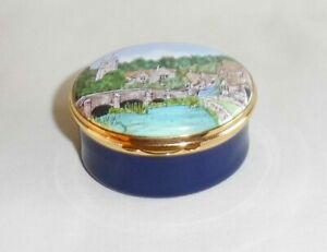 Crummles Hand Painted 'Castle Combe'  Enamel Box ~ Limited Edition 126/250