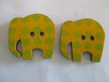 2 x 30mm Wooden BUTTONS - ELEPHANTS - Yellow - Sewing or Scrapbooking No1303