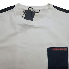 PRADA T-shirt  Short Sleeve White Blue Girocollo M/C Cotoon Stretch