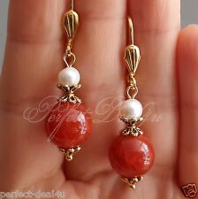 Red Carnelian Agate & White Natural Pearls Gold Plated Leverback round Earrings