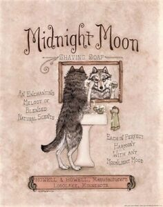 Midnight Moon by Kathy Jennings Wolf Shaving Funny Poster 11x14