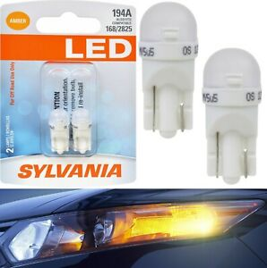 Sylvania Premium LED light 194 Amber Orange Two Bulbs Side Marker Mirror License