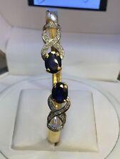 4.32 Cts Round Brilliant Cut Natural Diamonds Sapphire Cuff Bracelet In 14K Gold