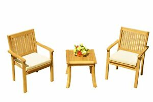 3pc Grade-A Teak Dining Set Giva Side Table 2 Leveb Stacking Arm Chairs Outdoor