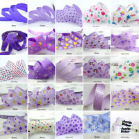"25x1Yard Assorted Satin Grosgrain Ribbon Lot 3/8""--1.5"" Purple Theme Craft Bow-A"