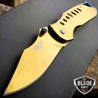 "6.5"" XTREME GOLD SPRING ASSISTED TACTICAL OPEN FOLDING POCKET KNIFE + CARABINER"