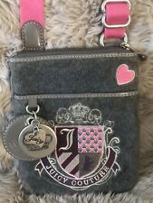 JUICY COUTURE Women's VELVET EMBROIDERED CROSSBODY SHOULDER Bag Silver Hardware